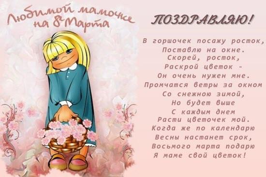 любимой мамочке на 8 марта открытка